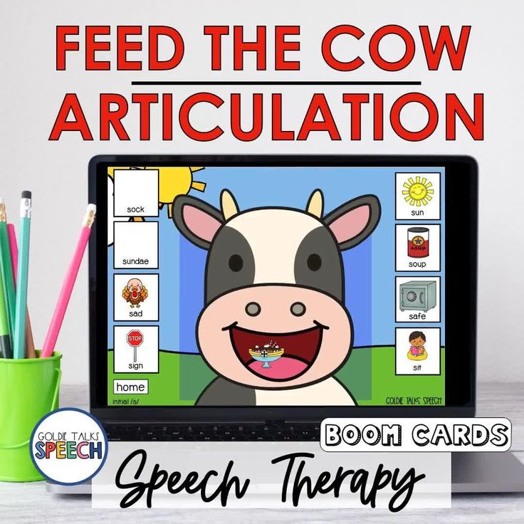 Feed the cow articulation boom cards speech therapy