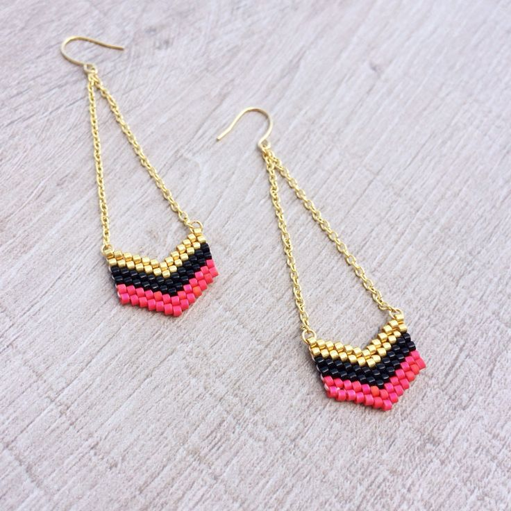 Handstitched Chevron Earrings // Gold, Turquoise Green & Purple // Arrowhead Beaded Colorful Geometric Dangle Earrings by Kurafuchi on Etsy https://www.etsy.com/listing/192775244/handstitched-chevron-earrings-gold