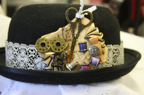 Steampunk seamstress hat pin collage bobbins by hudathotjewelry, $38.00