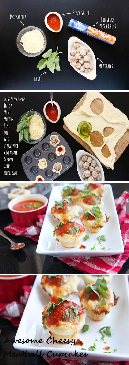 Awesome cheesy meatball pizza cupcakes summer 2013 (Love this idea, will swap out stuff to make veggie)