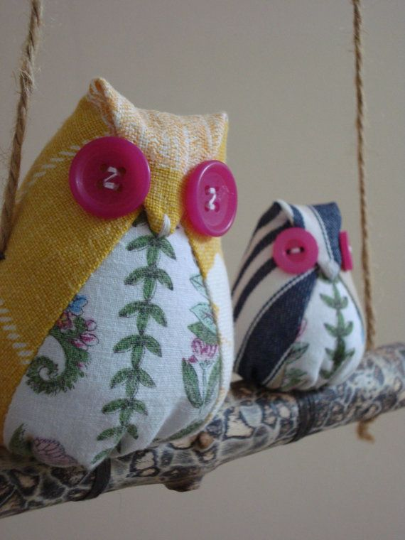 Fabric owl mobiles hand made from vintage and recycled material. FREE UK POSTAGE