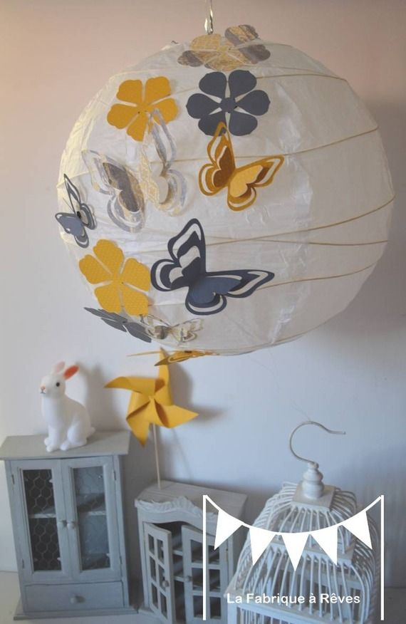 Abat-jour suspension luminaire rond envolée de papillons gris et jaune - 11 éléments - décoration chambre enfant bébé fille
