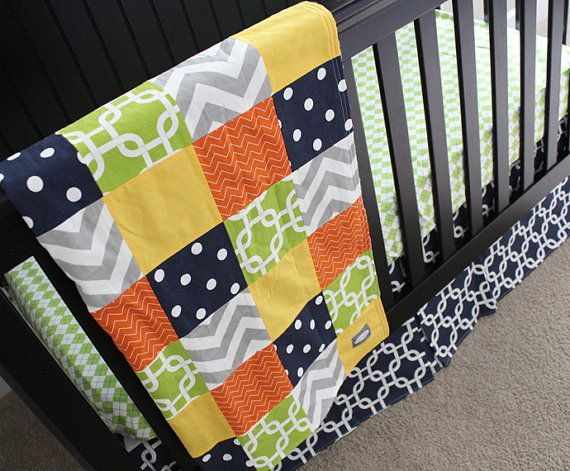 Lime Green And Gray Bedding: Navy, Orange, Yellow, Lime Green And