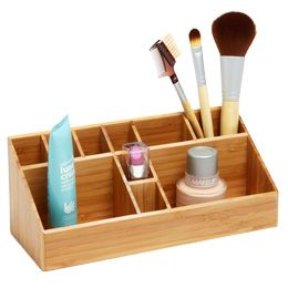 """Step 4: Embrace simplicity."" Assign a home for items where they are used. Organize and store your favorite everyday makeup on the bathroom counter."