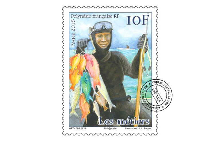 COLLECTORZPEDIA: French Polynesia Stamps Traditional professions - Hunter