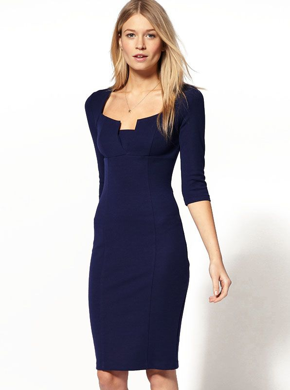 Blue Square Neck Vintage Slim Bodycon Dress 19.00