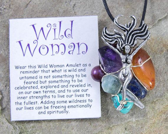 Wild Woman Amulet, Wire Wrapped Pendant, Healing Jewelry, Turquoise, Amethyst, Aquamarine, Quartz Crystal, Healing Crystals, Soul Journey