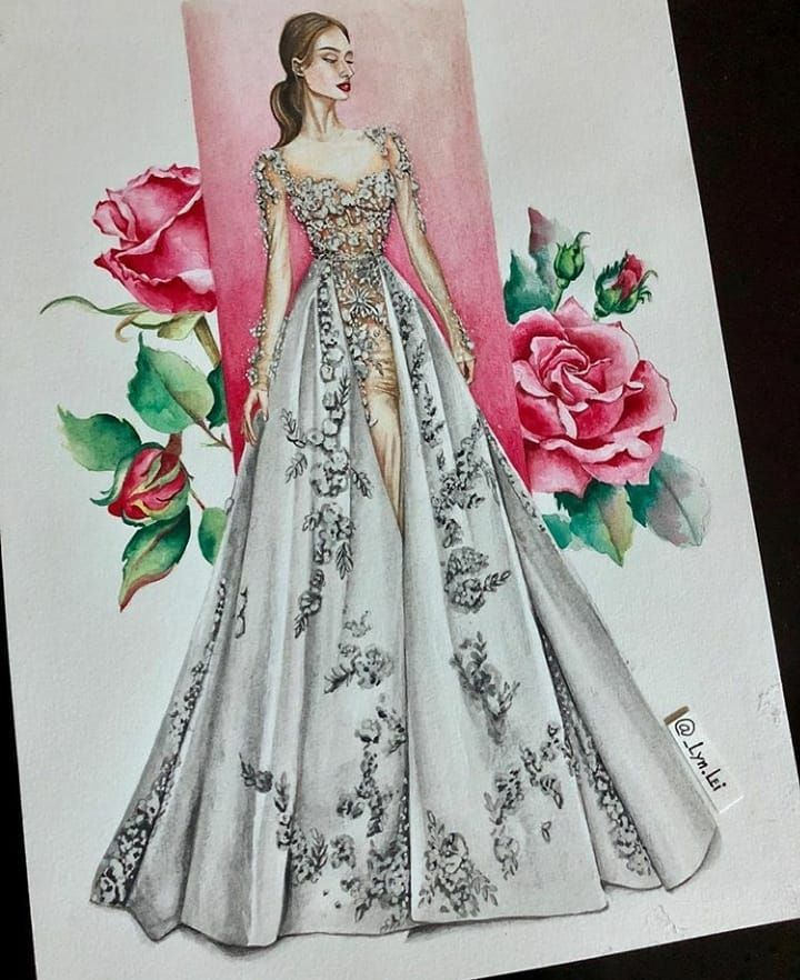 What A Beautiful Dress By Lyn Lei Fashion Illustration Dresses Fashion Drawing Dresses Fashion Design Sketches