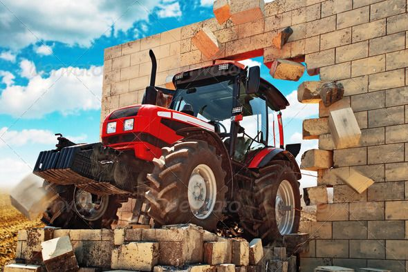 Brand new Tractor breaking through the wall ...  Conceptual Image, action, agricultural, agriculture, agronomics, agronomy, brand new, break through, bricks, country, countryside, crop, cultivate, cultivation, driving, engine, equipment, farm, farming, field, harvest, harvesting, industrial, industry, land, machine, machinery, modern, nature, obstacle, outdoor, outdoors, overcome, plowing, power, powerful, rural, strength, strong, technology, tractor, vehicle, village, wall, work, working