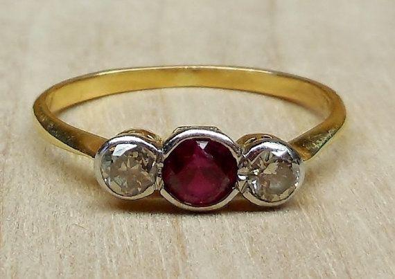Vintage Antique 60ct Ruby Diamond 14k 18k Gold Platinum
