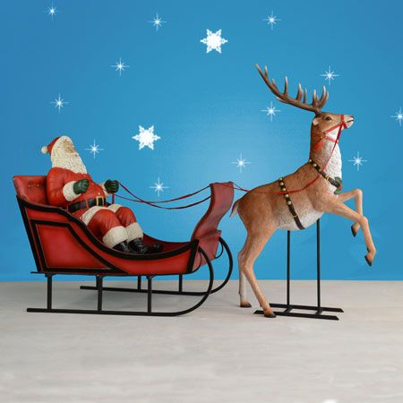 Santa Sleigh And Rearing Reindeer 120 Quot W Life Size Santa