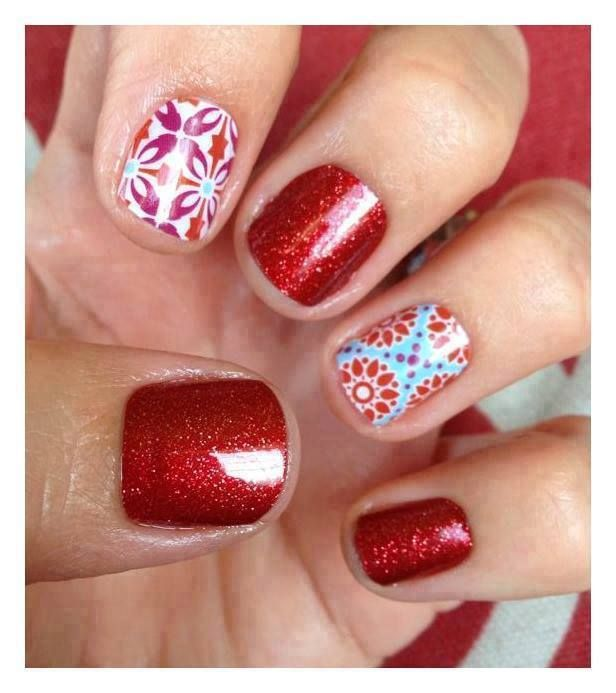 Jamberry nails in sparkly red and turquoise
