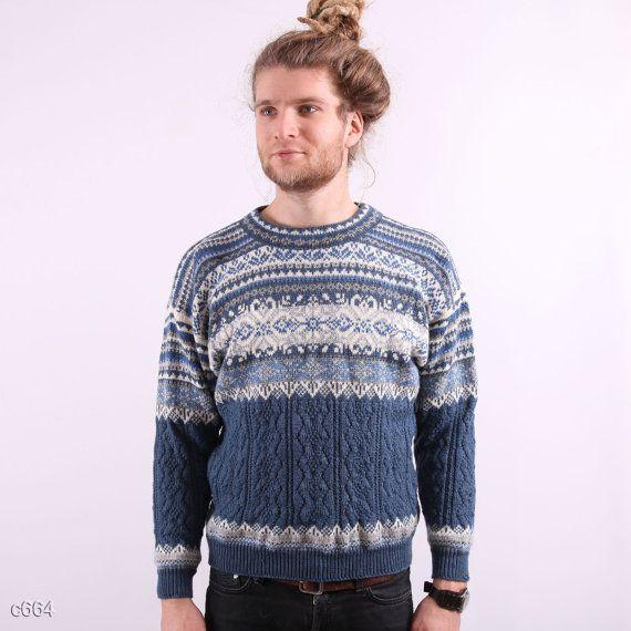 Mens Winter Sweater / Scandinavian style Sweater / sz Small