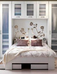 this is what I want!! Custom shelving around my headboard...