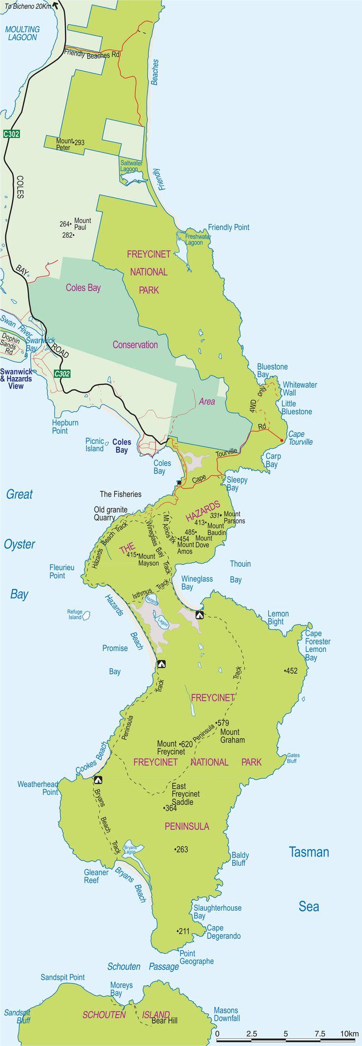 Freycinet National Park Map, Tasmania, Australia.