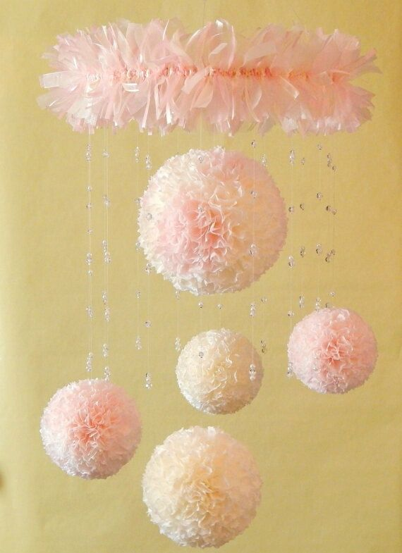 Decorative Mobile, Nursery Mobile, Children's mobile, Paper Pom Pom Blooms, Crystal Mobile, Pink & Ivory or Customer Choice MADE TO ORDER