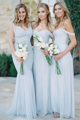 Off-the-shoulder Bridesmaid Dresses with Ruching Detail, Modern A-line Bridesmaid Dress, Long Bridesmaid Gowns,Sexy dress,