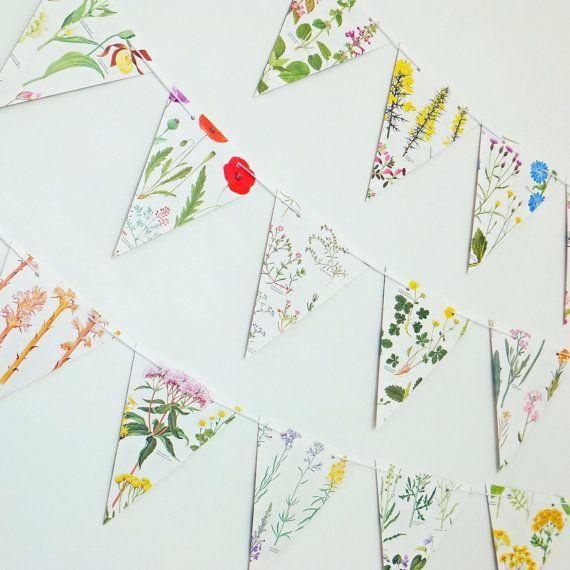 Wedding decor, Wedding Garland, Flower Bunting, Floral Garland, eco-friendly banner, up-cycled paper bunting, wedding pennants