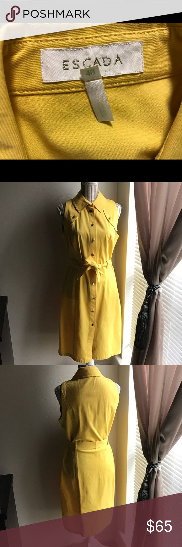 Escada Safari Button Down Dress Sz 40 Pre-loved Women's Escada Safari Button Down dress in Size 40. Dress is in excellent condition. No rips or stains. Color is yellow. Measurements: Bust - 40 inches, Length- 42 inches, and Waist - 36 inches. Beautiful dress for Spring and Summer! Escada Dresses