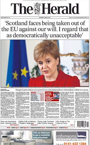The Herald newspaper front page 25 June 2016 European Referendum David Cameron resignation