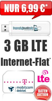 Internet-Flat #LTE 3000 mit #Telekom 6.99€ #Aktion #Rabatt http://go.hbude.de/1z8pc5a