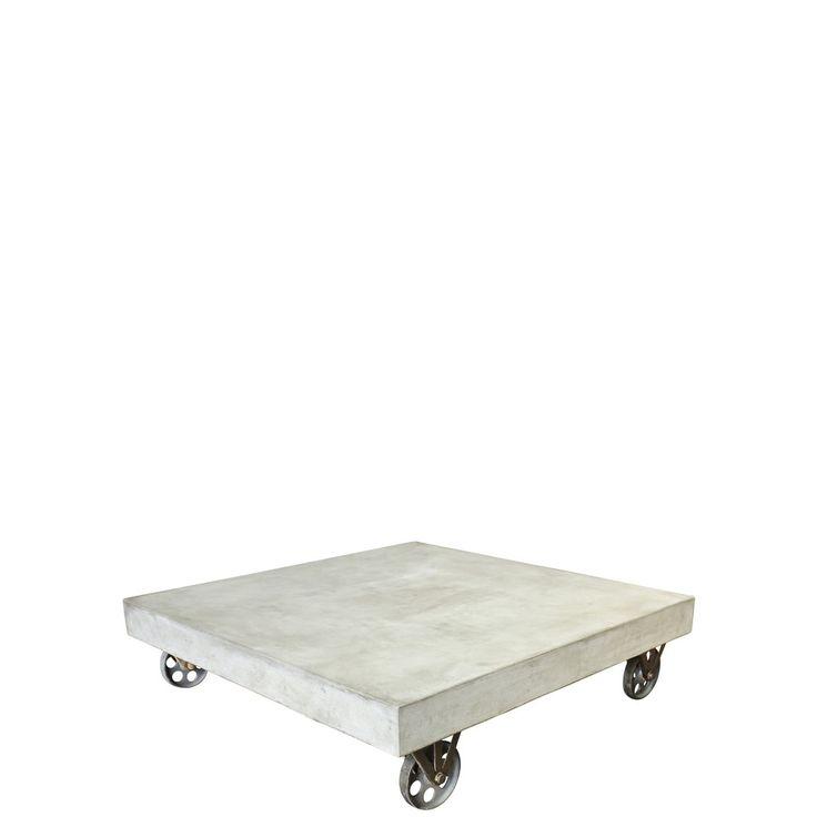 SIT Cement Couchtisch 80x80 cm mit Rollen 9974-13 grau SIT Möbel günstig online kaufen