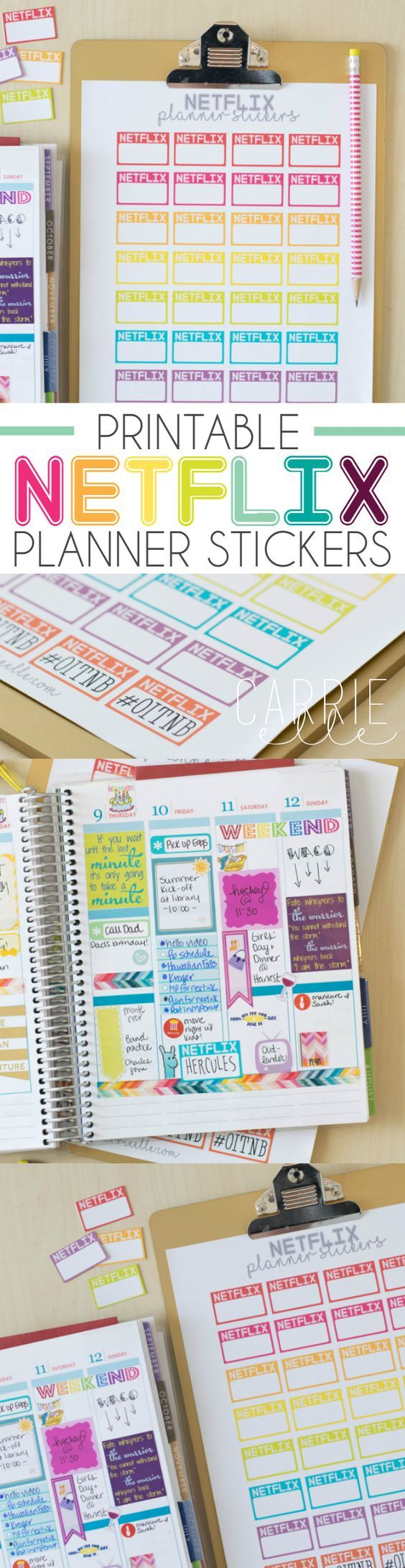 Free Printable Netflix Planner Stickers - these are so fun! #StreamTeam