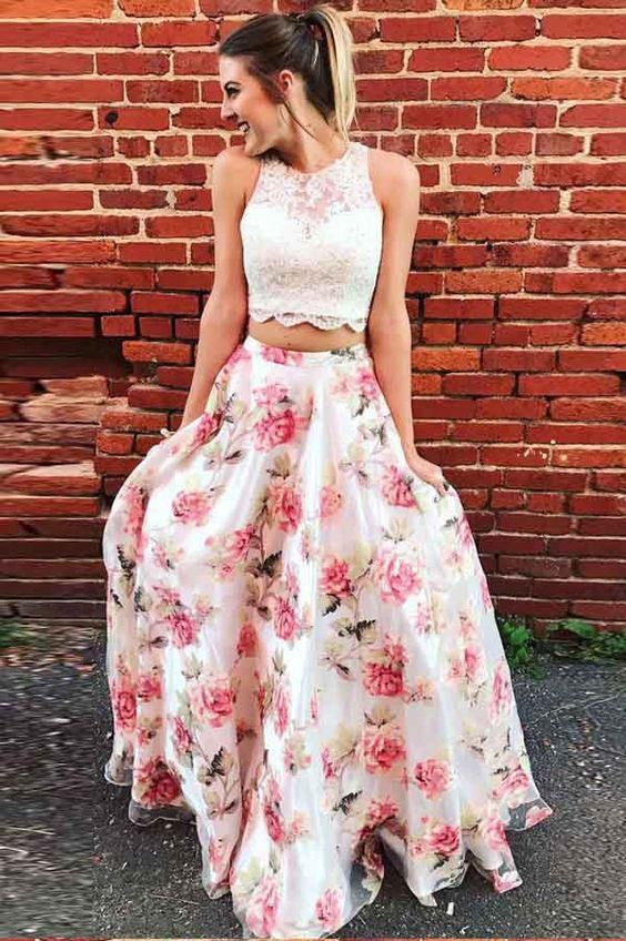 Two Piece Pink Printed Tulle Sleeveless Prom Dress with Appliques,120 2
