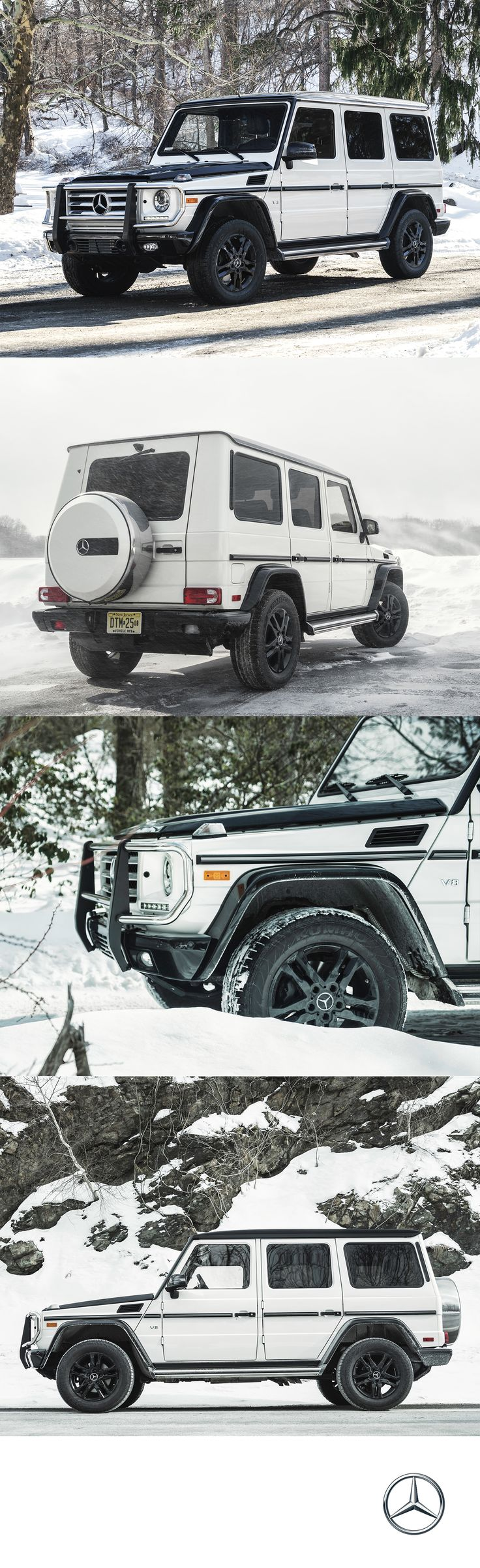 Dashing through the snow on a 382 horsepower sleigh. The V8 and paddle-shifted 7-speed automatic engine let's you take on any terrain with the Mercedes-Benz G550.