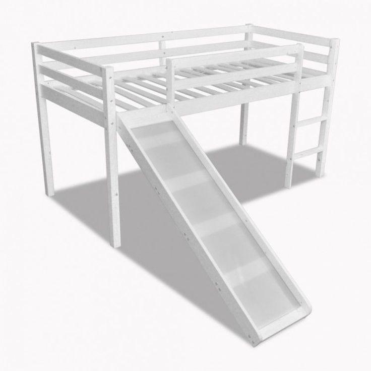 Childrens Loft Bed White Wooden Frame Slide Ladder Bunk Bedroom Home Furniture #ChildrensLoftBed