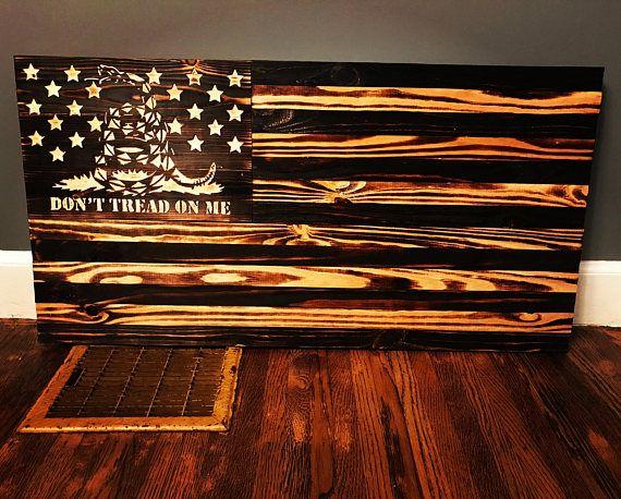 Don T Tread On Me Gadsden Vintage Style Wood Flag Etsy American Flag Wood Wood Flag Handmade American Flag