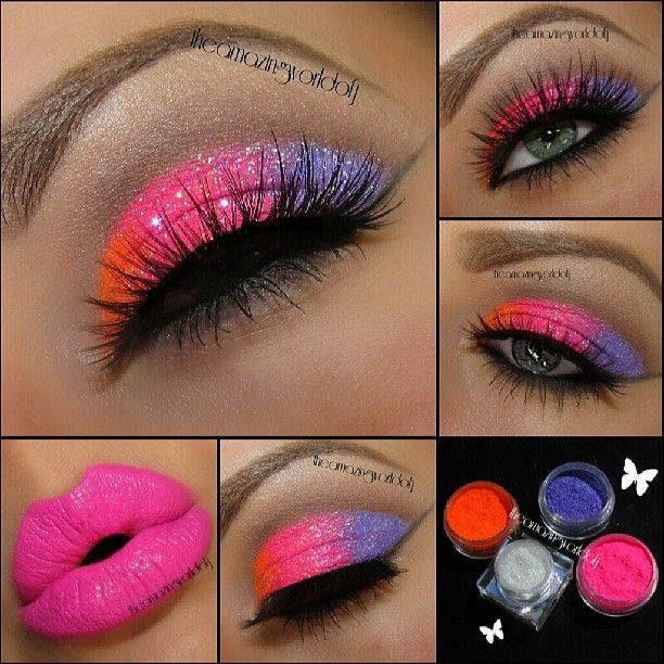 Neon Glitter eyes with neon pink lips