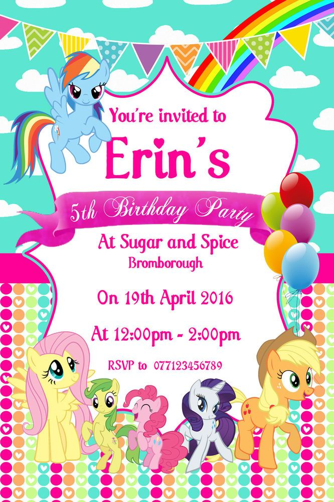 MY LITTLE PONY personalised party invitation invite birthday x10 GIRL BOY
