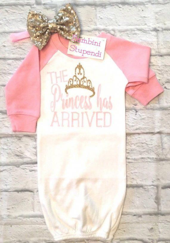 8648f85bd50ce Baby Girl Clothes, The Princess Has Arrived Raglan Gown, Princess ...