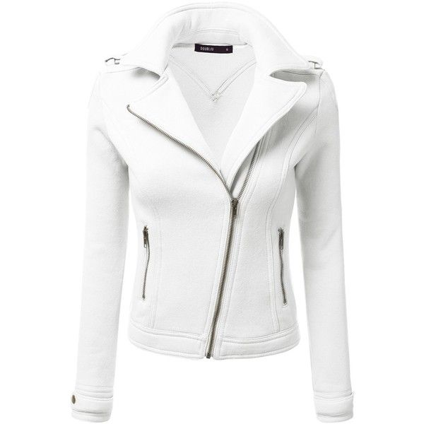 Doublju Womens Casual Slim Fit Zip-Up Rider Moto Jacket (98 BRL) ❤ liked on Polyvore featuring outerwear, jackets, slim biker jacket, rider jacket, moto jacket, slim fit jackets and white moto jacket