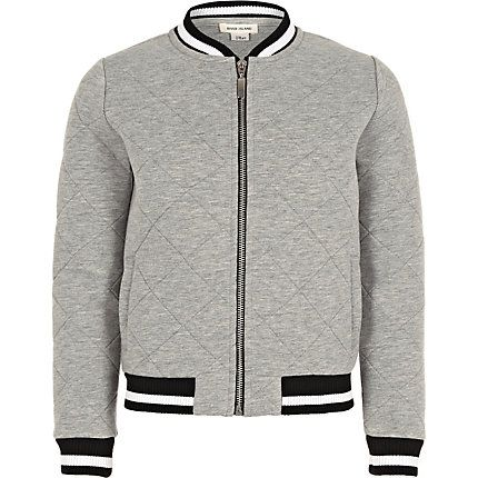 Girls grey quilted bomber jacket £25.00