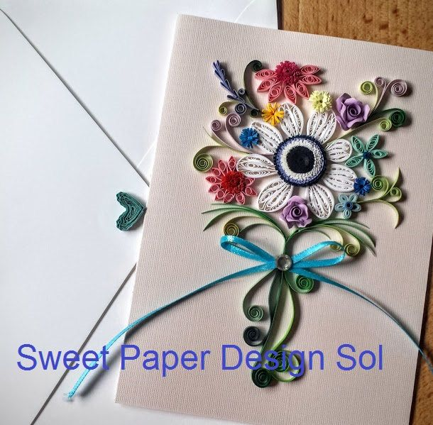 Paper Quillied beautiful Anemone Bouquet - Wedding card,Mothers day,Happy Birthday,Congratulations , Happy Anniversary Card by SweetPaperDesignSol on Etsy