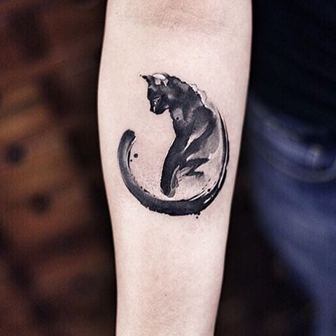 "watercolor cat tattoo ""Curiosity killed the cat... Satisfaction brought it back"""