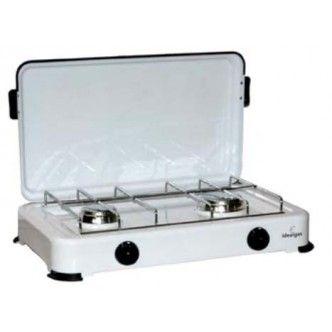 Fornello camping portatile a 2 bruciatori d'acciaio inox. Potenxza elevata 2,4 kW.