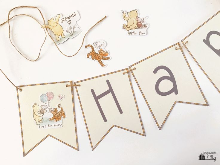 Create the perfect Winnie the Pooh birthday banner with this free printable! This banner is quick and easy to put together.