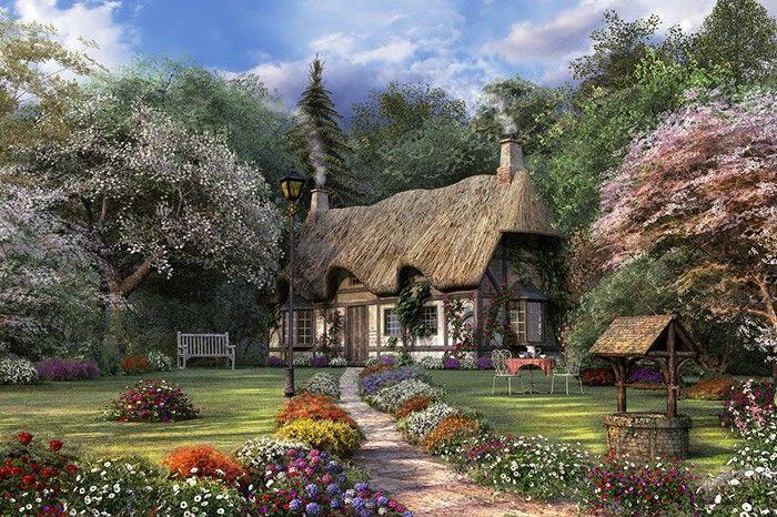 Thomas Kinkade Painting of Victorian English Cottage  home flowers art house garden painting cottage thomas kinkade