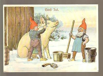 7495 Illustratore GOG IUL OCH - GOTT NYTT AR ! da SVEZIA MAIALE CON NANI