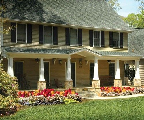 Full Front Porch On Saltbox House Colonial House Ideas
