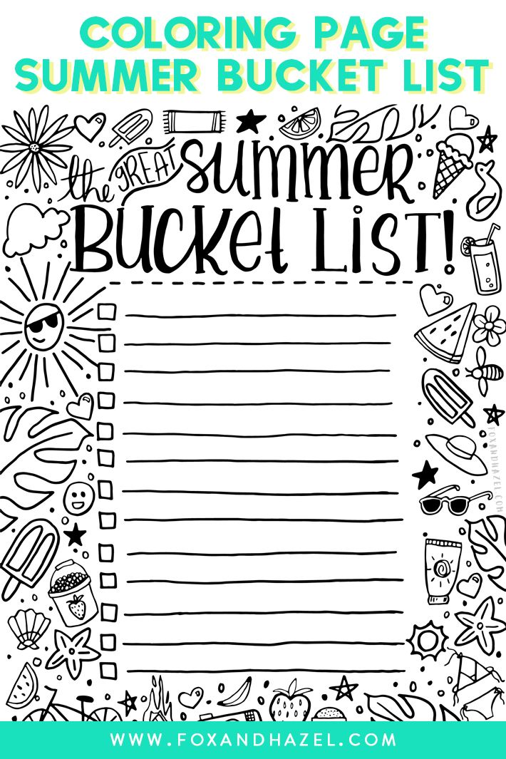 Write Down All Your Summer Bucket List Ideas With This Free Printable Foxandhazel Summerbuck Summer Printables Summer Bucket Lists Summer Bucket List Writing