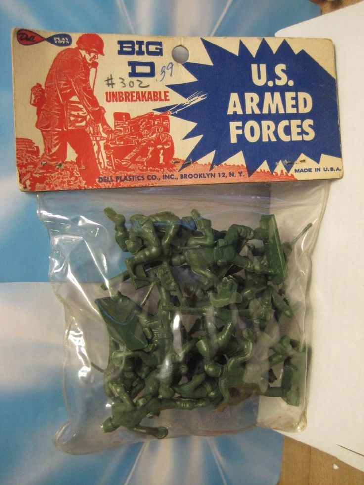 TIM MEE MARX DELL ELDON PLAYSET 1960s HEADER BAG ARMY 60MM PLASTIC TOY SOLDIER #DELLToys