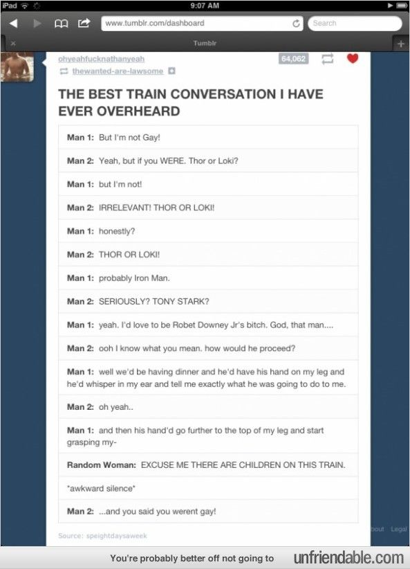 A conversation on a train