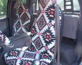 1 Set of Red Aztec Print Seat Covers and Steering by ChaiLinSews