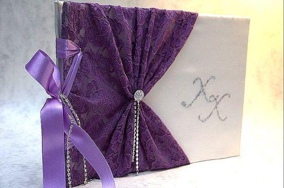 Wedding Guest Book  Purple Romantic Elegant by LenaWeddings
