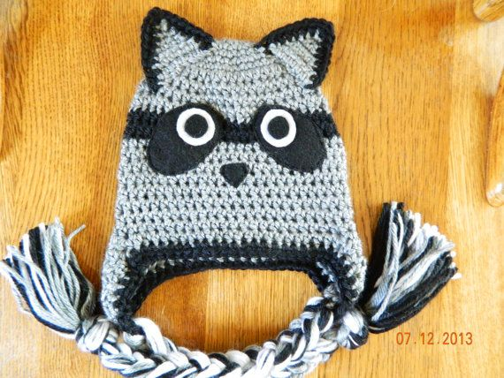 Crochet raccoon hat sizes 1224 months 23 T or 35 by hooliganshobby, $20.00 Ryland