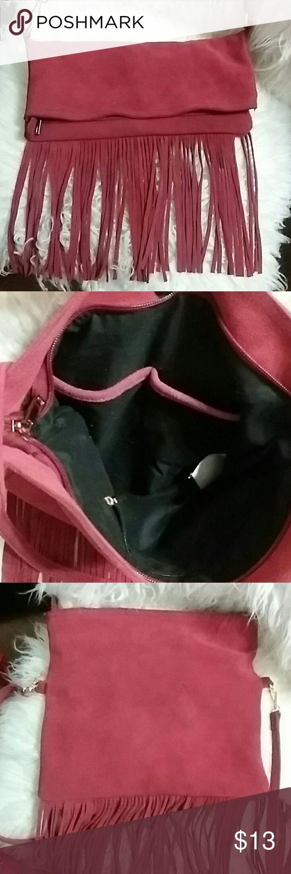 """Shoulder bag Red suede fringed shoulder bag. Fun concert bag. Bag is 13"""" wide, 7"""" deep when foded, 12"""" when opened and the fringe is 8"""" long Bags Shoulder Bags"""